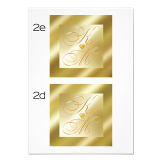 guld- damastast pubMONOGRAMKORT 12,7 X 17,8 Cm Inbjudningskort