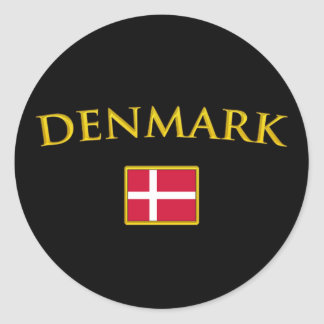 Guld- Danmark Rund Klistermärke