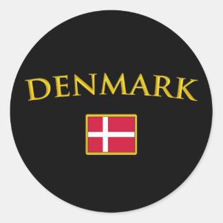 Guld- Danmark Runt Klistermärke