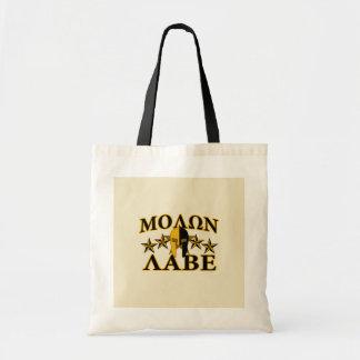 Guld- dekor Molon Labe för spartansk krigarehjälm Budget Tygkasse