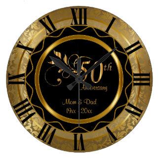 Guld- diamantbröllop för elegant 50th stor klocka