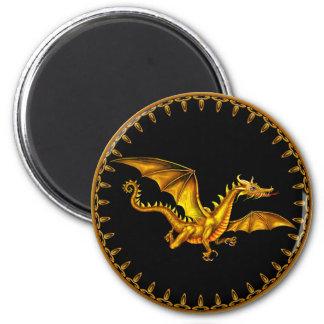 guld- drake för flyg på svart magnet rund 5.7 cm