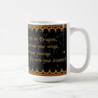 Guld- drake med dikt kaffemugg