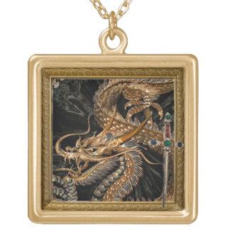 guld- drake- och svärdhalsband guldpläterat halsband
