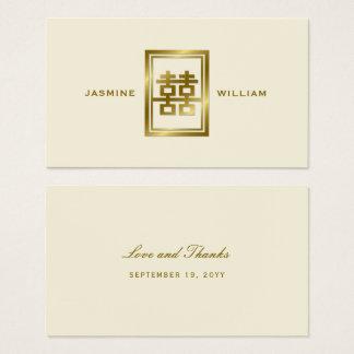 Guld- dubbel märkre för lyckabrölloptack visitkort