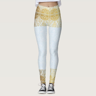 Guld- egyptisk damasker för vintage leggings