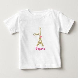 Guld- Eiffel torn Paris & rosa rosanpassningsbar T-shirt