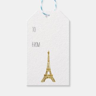 Guld- Eiffel torn Presentetikett