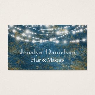 Guld- elegantt festligt stränger hänga för blått visitkort