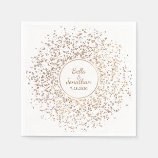 Guld- elegantt romantiskt bröllop & servett