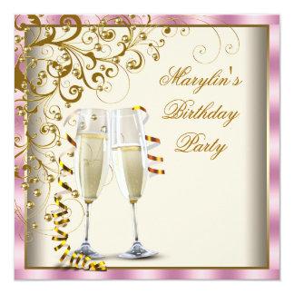 Guld- elfenbenkvinna rosa födelsedag för kräm för fyrkantigt 13,3 cm inbjudningskort