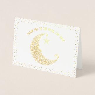 Guld eller silver omkullkastar tack till månen och folierat kort