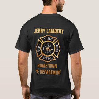Guld- emblemanpassningsbar för brandstation tee shirts