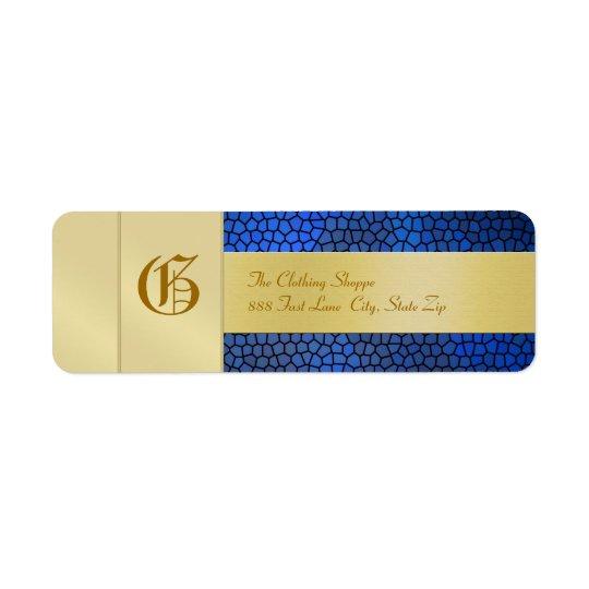Guld- etikett för adress för Monogramblåttaffär Returadress Etikett