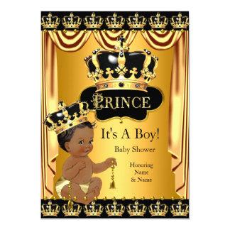 Guld- etnisk pojke för kunglig svart för Prince 12,7 X 17,8 Cm Inbjudningskort