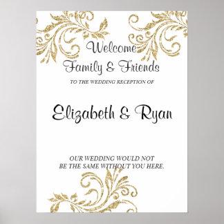 Guld Fauxglitter, personligt bröllpvälkomnande Poster