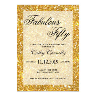 Guld- Fauxglittermönster sagolika femtio 12,7 X 17,8 Cm Inbjudningskort