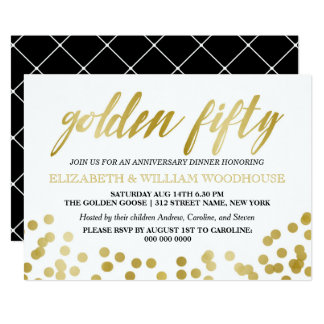 Guld- femtio 50th årsdagmiddag för konfettiar   12,7 x 17,8 cm inbjudningskort