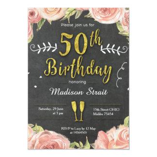 Guld femtio och sagolik födelsedagsfest inbjudan