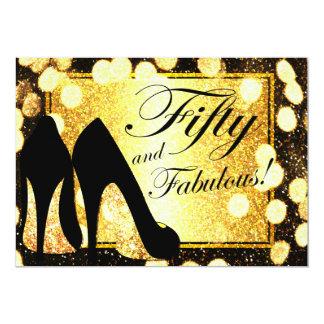 Guld femtio och sagolik kvinna födelsedaginbjudan 12,7 x 17,8 cm inbjudningskort