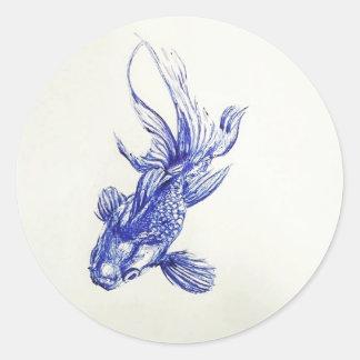 Guld- fisk runt klistermärke
