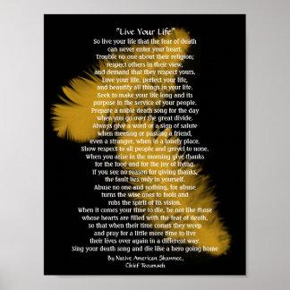 """Guld- fjädrar """"bo för ditt liv"""", högsta Tecumseh Poster"""