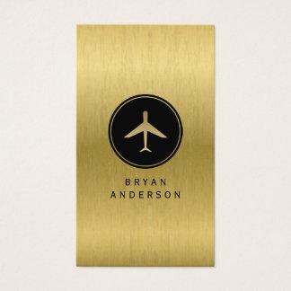 Guld- flygplanvisitkort för Faux Visitkort