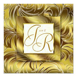 Guld för blommigt för elegant bröllopinbjudanlöv fyrkantigt 13,3 cm inbjudningskort