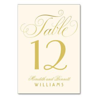 Guld för bröllopbordsnummer | skrivar monogramen