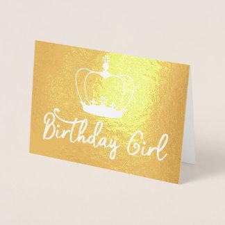 Guld för drottningen för födelsedagflickakronan folierat kort