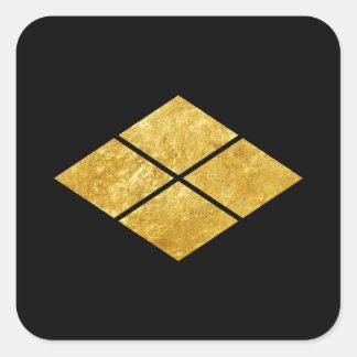 Guld för faux för klan för samurai för Takeda Fyrkantigt Klistermärke