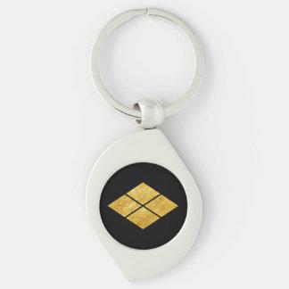 Guld för faux för klan för samurai för Takeda Swirl Silverfärgad Nyckelring