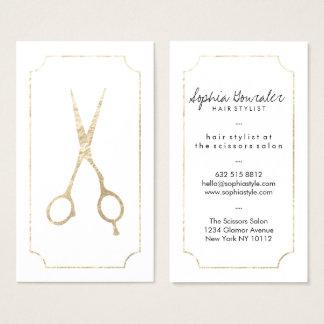 Guld för fauxen för hårstylisten scissors elegantt visitkort
