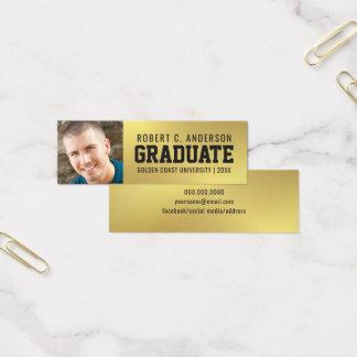 Guld för fauxen för kortet för studentenfotonamn litet visitkort