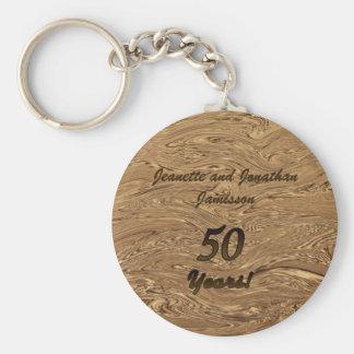 Guld för flytande för guldbröllopårsdagnyckelring rund nyckelring