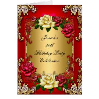 Guld för födelsedagsfesten för inbjudan 50th steg hälsningskort