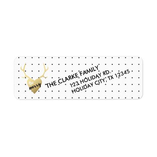 Guld- för helgdagreturadress för horn på kronhjort returadress etikett