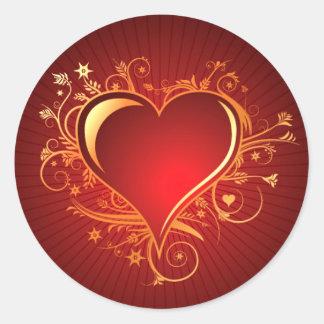 Guld för hjärta | för strålpunkt Filigree rött Runt Klistermärke
