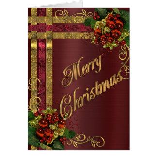 Guld för juleleganskort och röd Victorian Hälsningskort