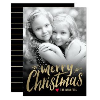 Guld för kort för foto för julkärlekhelgdag 12,7 x 17,8 cm inbjudningskort