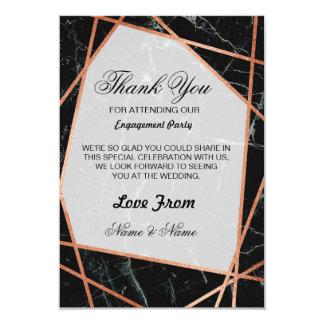 Guld för marmor för svart för brölloptackkort rosa 8,9 x 12,7 cm inbjudningskort