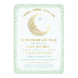 Guld för Mint för baby shower för stjärna för 12,7 X 17,8 Cm Inbjudningskort