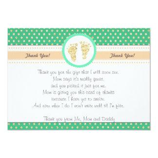 Guld för Mint för kort för fotspårbaby showertack 12,7 X 17,8 Cm Inbjudningskort