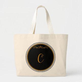 """Guld för Monogram """"C"""" på svart Jumbo Tygkasse"""