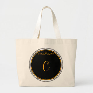 """Guld för Monogram """"C"""" på svart Tote Bag"""