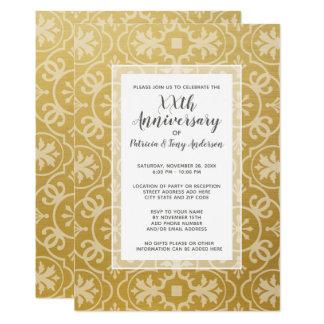 Guld för mönster 50th för bröllopsdagparty modernt 12,7 x 17,8 cm inbjudningskort