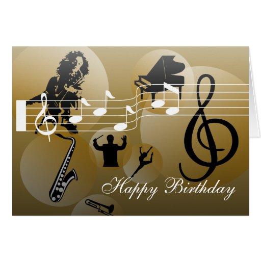 Guld för musik för födelsedagkortkärlek hälsningskort