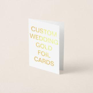 Guld för personligt bröllpkortkortpersonligen folierat kort