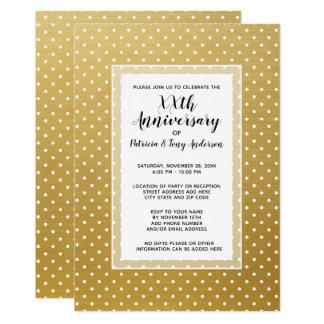 Guld för Polka 50th för bröllopsdagparty modernt 12,7 X 17,8 Cm Inbjudningskort