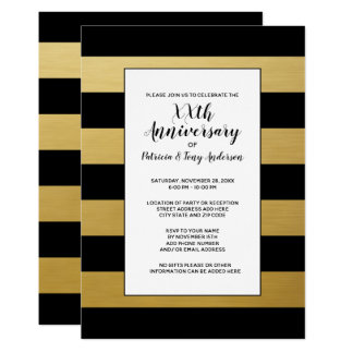 Guld för randar 50th för bröllopsdagparty modernt 12,7 x 17,8 cm inbjudningskort